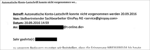 Phishing-Mail giropay