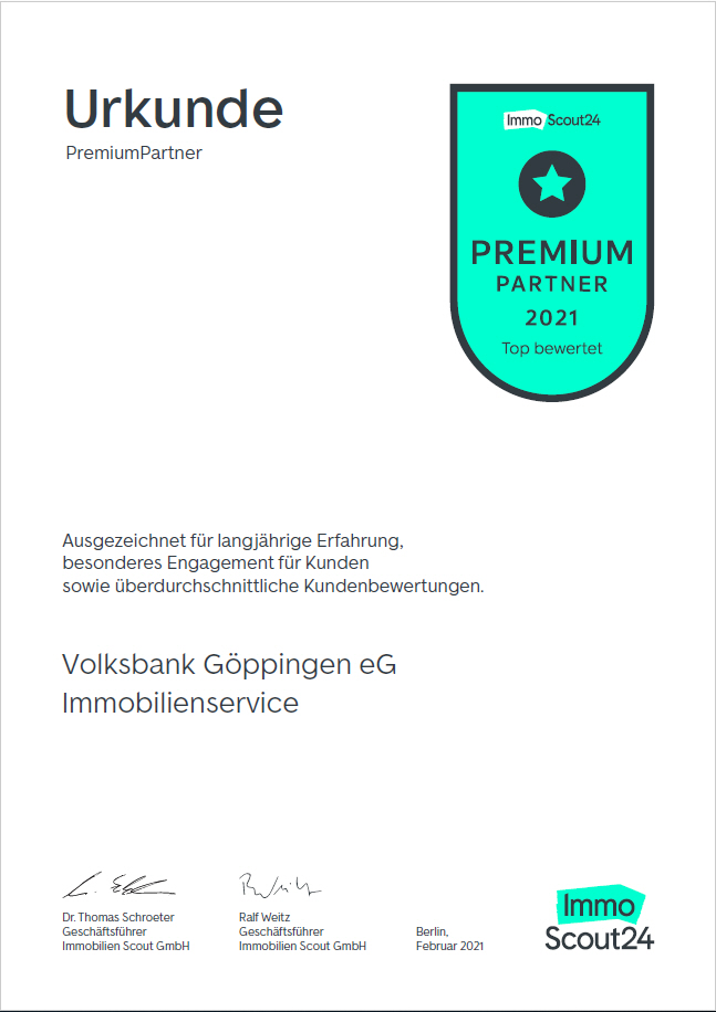 Urkunde ImmobilienScout24 - Auszeichnung