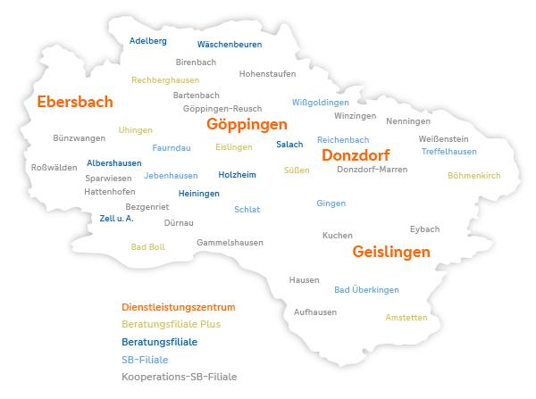 Übersicht Filialen Volksbank Göppingen