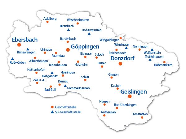 Die Standorte der Volksbank Göppingen